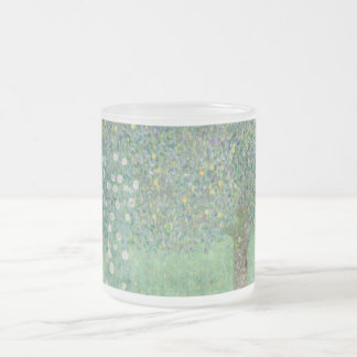 Gustav Klimt - Rosebushes under the Trees Frosted Glass Coffee Mug