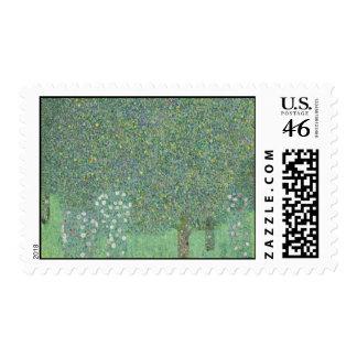 Gustav Klimt - Rosebushes under the Trees Stamp