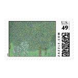 Gustav Klimt - Rosebushes under the Trees Postage Stamp