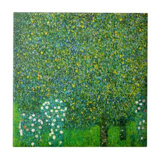 Gustav Klimt Roses Under The Pear Tree Tile