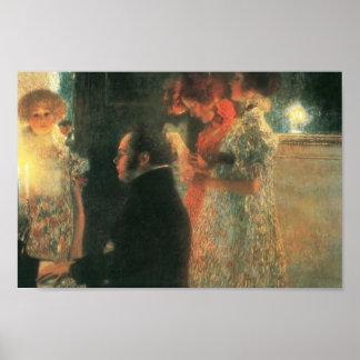 Gustav Klimt- Schubert at the Piano II Poster