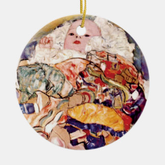 Gustav Klimt - The Baby Cradle - Newborn Ceramic Ornament
