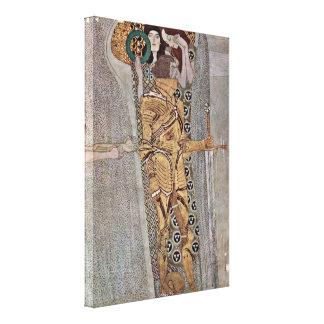 Gustav Klimt - The Beethoven frieze mural Detail Canvas Print