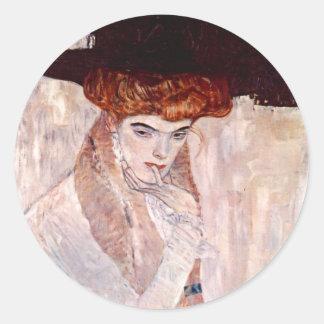 Gustav Klimt ~ The Black Hat 1910 Classic Round Sticker