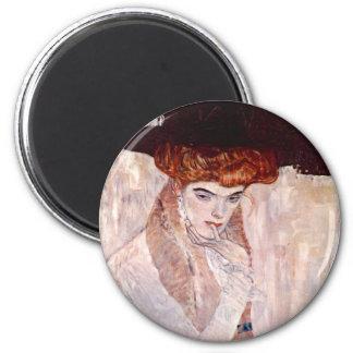 Gustav Klimt ~ The Black Hat 1910 Fridge Magnet