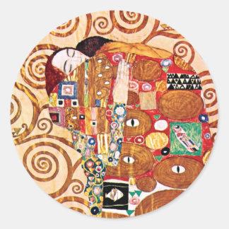 Gustav Klimt - The Embrace - Fine Art Painting Classic Round Sticker