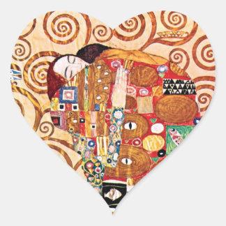 Gustav Klimt - The Embrace - Fine Art Painting Heart Sticker