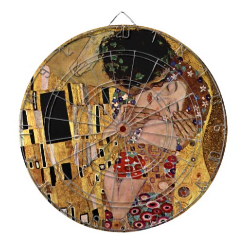 Gustav Klimt: The Kiss (Detail) Dartboard With Darts