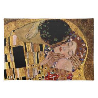 Gustav Klimt: The Kiss (Detail) Cloth Place Mat