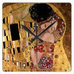 Gustav Klimt: The Kiss (Detail) Wall Clocks