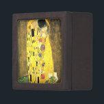 """Gustav Klimt -The Kiss Keepsake Box<br><div class=""""desc"""">Gustav Klimt -The Kiss,  created on 1907-1908.   Medium:  Oil and gold leaf on canvas. Current location: Location  &#214;sterreichische Galerie Belvedere,  Vienna,  Austria</div>"""