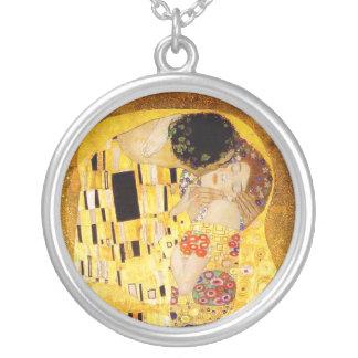 Gustav Klimt The Kiss Nouveau Silver Plated Necklace