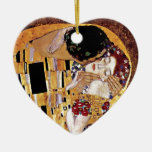 Gustav Klimt - The Kiss Double-Sided Heart Ceramic Christmas Ornament