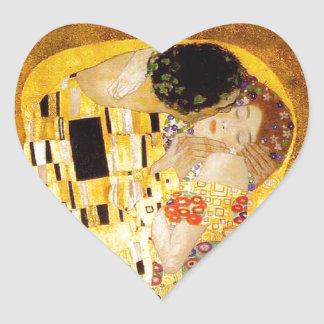 Gustav Klimt The Kiss Heart Stickers
