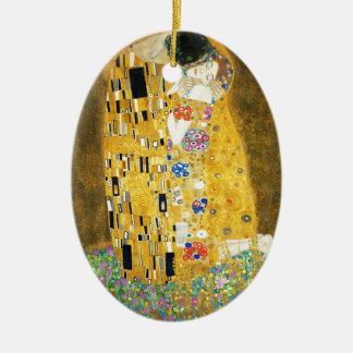 Gustav Klimt The Kiss Vintage Art Nouveau Painting Ceramic Ornament