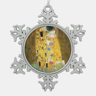 Gustav Klimt The Kiss Vintage Art Nouveau Painting Snowflake Pewter Christmas Ornament