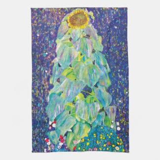 Gustav Klimt - The Sunflower Fine Art Painting Kitchen Towel