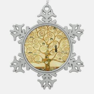 Gustav Klimt The Tree Of Life Vintage Art Nouveau Snowflake Pewter Christmas Ornament
