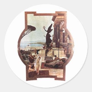 Gustav Klimt ~ Theater von Taormina Classic Round Sticker