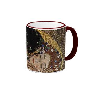 Gustav Klimt's The Kiss Detail (circa 1908) Ringer Coffee Mug