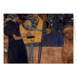 Gustav Kllimt Harp Music Note Card