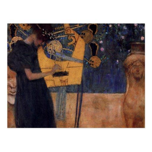 Gustav Kllimt Harp Music Post Card