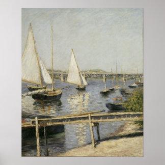 Gustave Caillebotte - barcos de navegación en Arge Poster