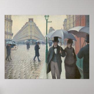 Gustave Caillebotte - calle de París; Día lluvioso Póster