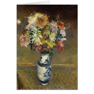 Gustave Caillebotte- Chrysanthemums in a Vase Card