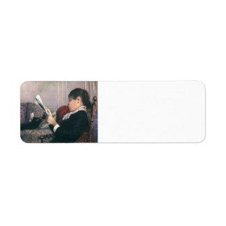 Gustave Caillebotte- Interior Woman Reading Custom Return Address Label