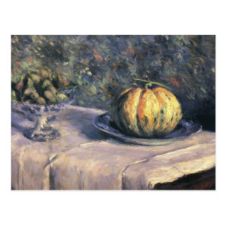 Gustave Caillebotte-Melon and Fruit Bowl with Figs Postcard