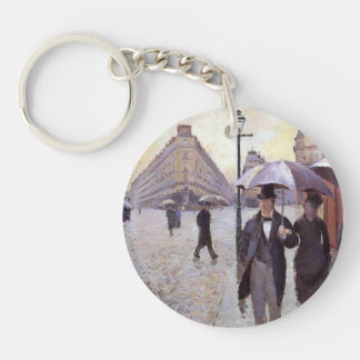 Gustave Caillebotte- Paris, a Rainy Day Single-Sided Round Acrylic Keychain
