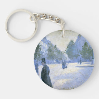 Gustave Caillebotte-Place St Augustin, Weather Single-Sided Round Acrylic Keychain
