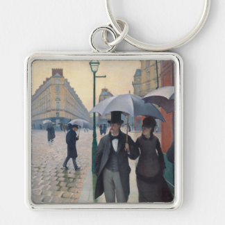 Gustave Caillebotte Silver-Colored Square Keychain