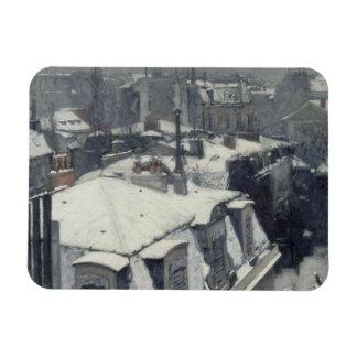 Gustave Caillebotte - tejados en la nieve Imán Flexible
