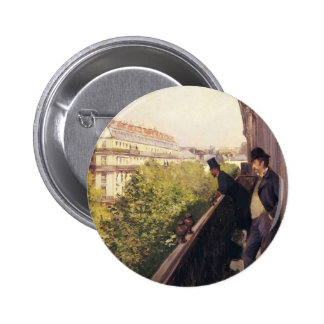 Gustave Caillebotte: Un balcón, bulevar Haussmann Pin Redondo De 2 Pulgadas