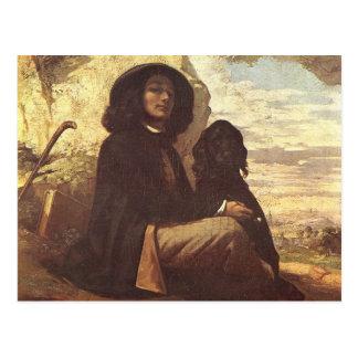 Gustave Courbet - autorretrato con un perro negro Postal