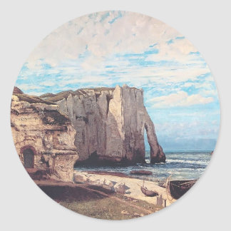 Gustave Courbet- Cliffs at Etretat after the storm Round Stickers