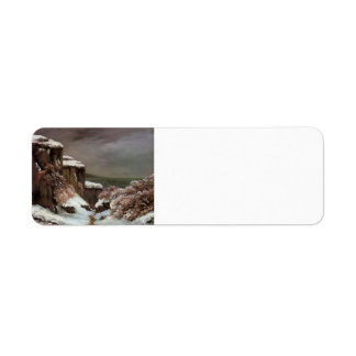 Gustave Courbet- Cliffs by the Sea in the Snow Return Address Label