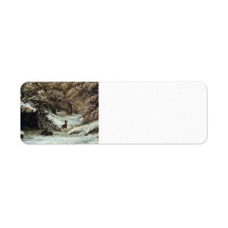 Gustave Courbet- Deer Taking Shelter in Winter Return Address Label