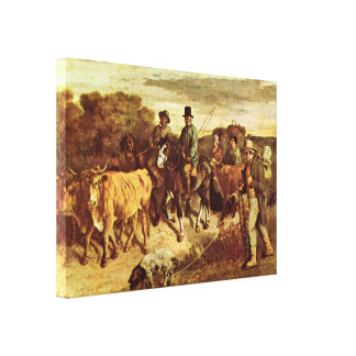 Gustave Courbet - Farmers return from market Canvas Print