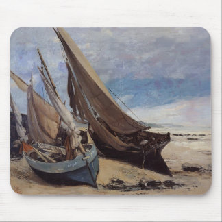 Gustave Courbet- Fishing Boats on Deauville Beach Mouse Pad