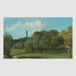 Gustave Courbet -La Bretonnerie in the Department Rectangular Sticker