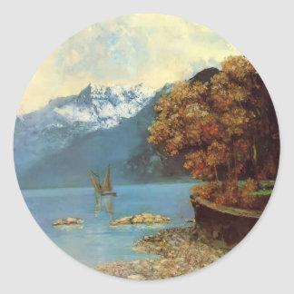 Gustave Courbet- Lake Leman Classic Round Sticker