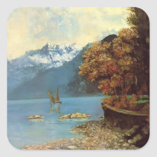 Gustave Courbet- Lake Leman Square Sticker