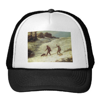 Gustave Courbet- Poachers in the Snow Mesh Hat
