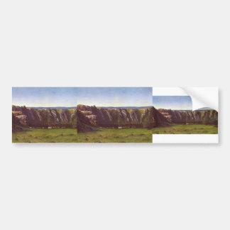 Gustave Courbet- Rocky landscape near Flagey Bumper Stickers