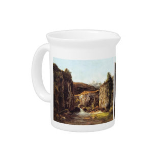 Gustave Courbet- Source among the Rocks of Doubs Beverage Pitchers