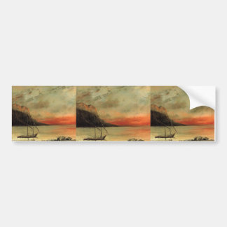 Gustave Courbet- Sunset over Lake Leman Car Bumper Sticker