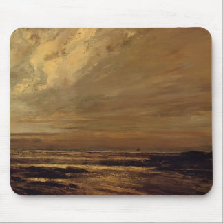 Gustave Courbet-The Beach at Trouville at Low Tide Mouse Pad